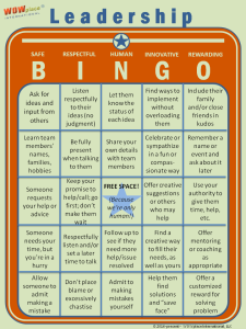 Leadership Bingo game, leadership assessment tool
