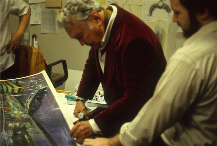 Herb Ryman signing his rendering of THE POWER PLANT Copyright The Goddard Group All Rights Reserved
