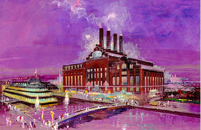"""Herb Ryman's initial illustration of the Power Plant when we were trying to sell Six Flags on creating more excitement on the street in front of building.  We were very concerned that the structure was imposing but not inviting.  There was really nothing on the exterior that told you something inside was fun and exciting.  We argued that we should create a line of shops along the main walkway, and a grand porte cochere at the main entry as well.  We wanted to light up the exterior like HARROD'S in London.  We wanted to add flags along the top of the building and even considered trying to sell Six Flags on having light fireworks fire out of the top of the smoke stacks every hour.  We also lobbied for a new restaurant and night time entertainment facility that would be located on a barge along the pier, creating a larger """"destination"""" feeling for the area.  All of this was shot down for budgetary reasons, leaving a rather stark building exterior without any color or excitement. Copyright Gary Godd Entertainment All Rights Reserved"""