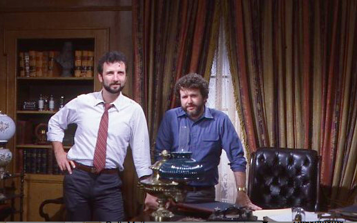 Tony Christopher and Gary Goddard on the set of THE SENSORIUM film Copyright The Goddard Group All Rights Reserved