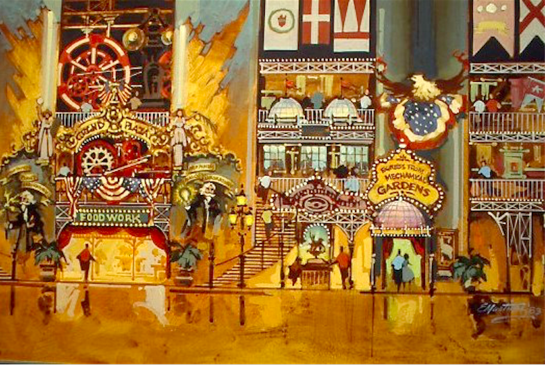 Eddie Martinez color concept sketch for the midway located at the center of the main building, with entrances set among the four massive smokestacks. Copyright The Goddard Group All Rights Reserved