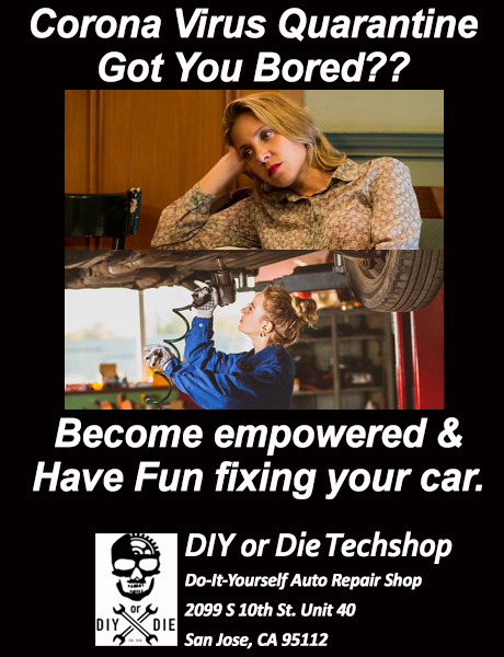 Empowered woman working on her car at our DIY auto repairshop during the Corona Virus Quarantine