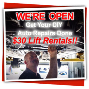Our DIY auto repair shop is open during corona virus quarantine