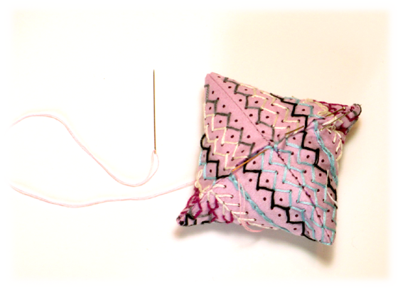 embroidered pin cushion