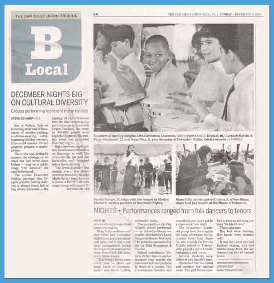 San Diego Union Tribune article