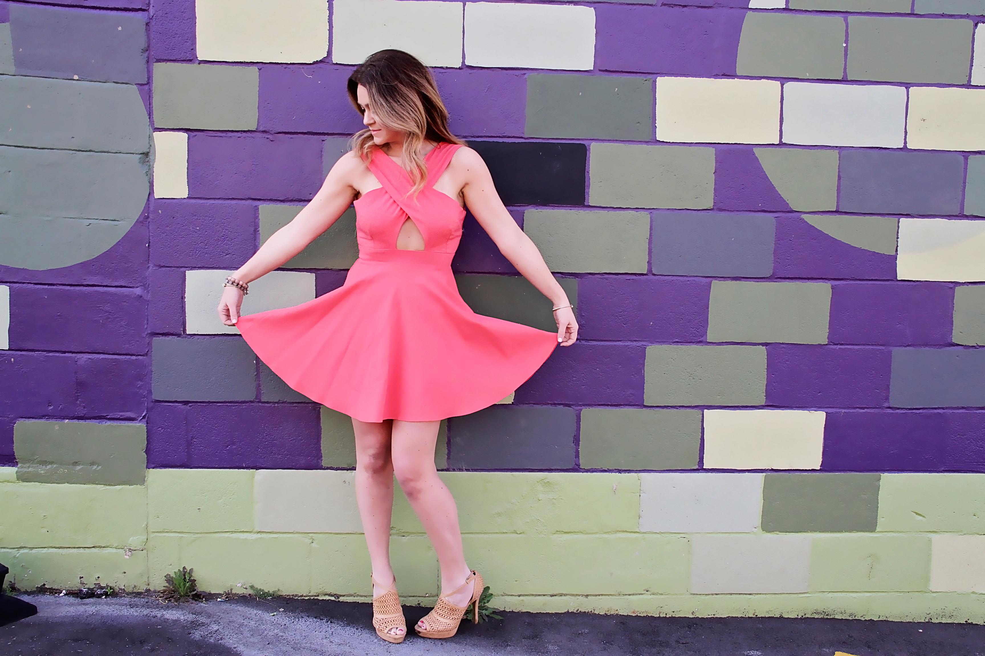 ex boyfriend blog post nashville coral dress