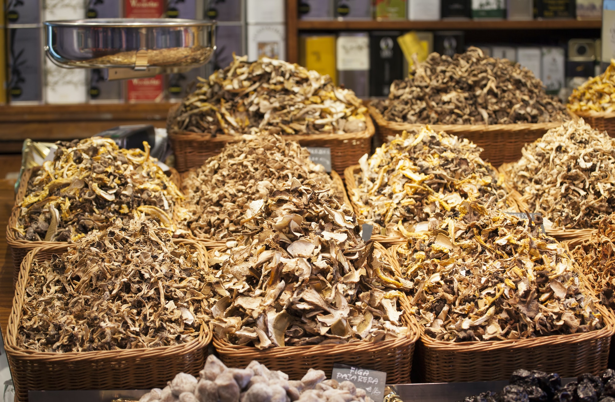 Dried mushrooms exposed in a market