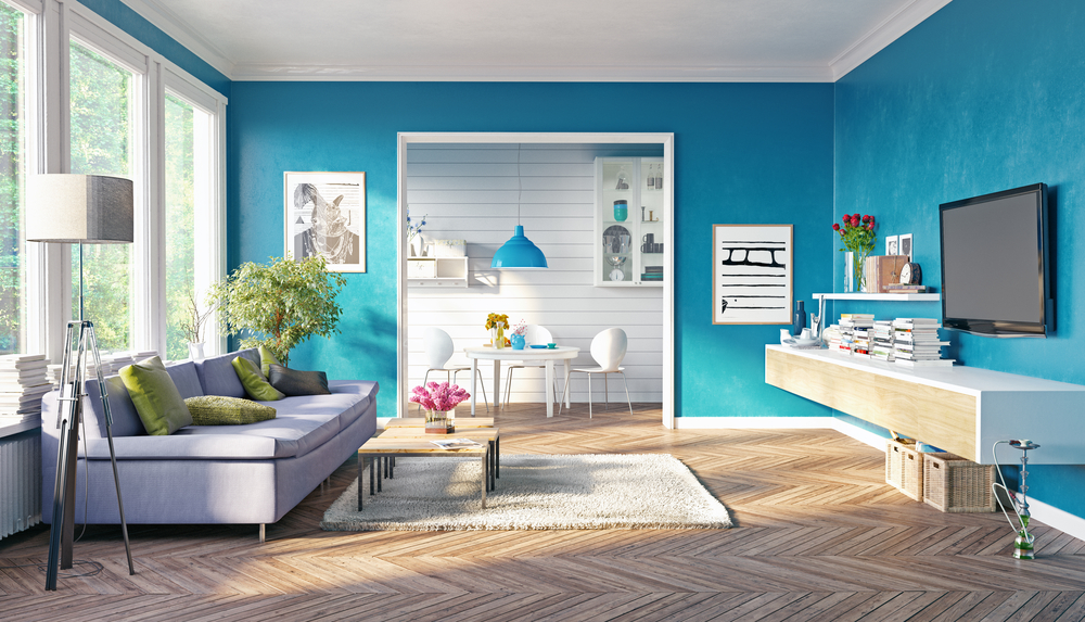 Blue living room space