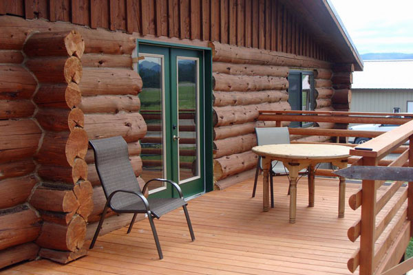 Deck at the Chisum Lodge, a Vacation Rental in Whitefish Montana