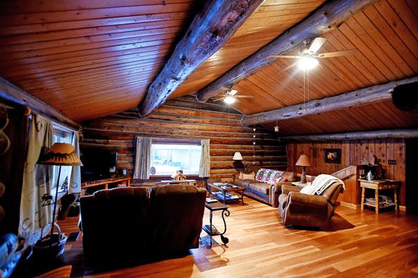 Living Room in Log Cabin Vacation Rental