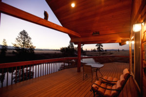 Large Deck with Heaters in Vacation Rental, River View Lodge