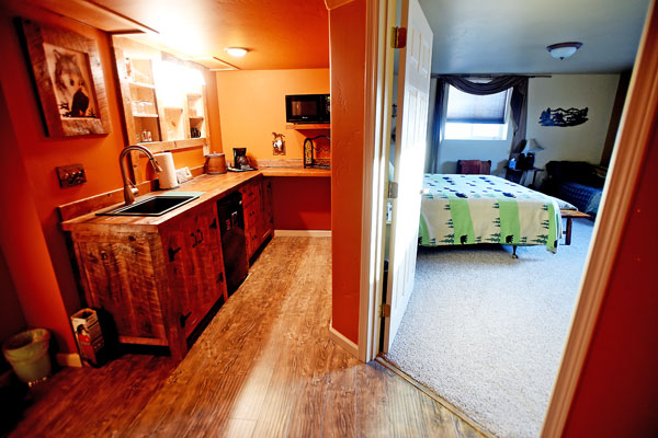 Wet Bar and Lower Large Bedroom of the Chisum Lodge