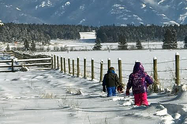 Winter in Whitefish Montana at the River Meadow Ranch