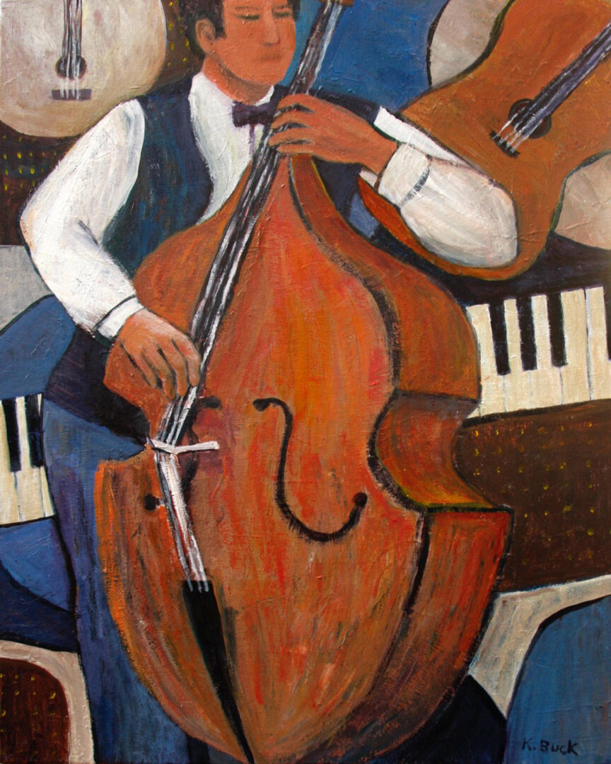 painting of a man playing a bass