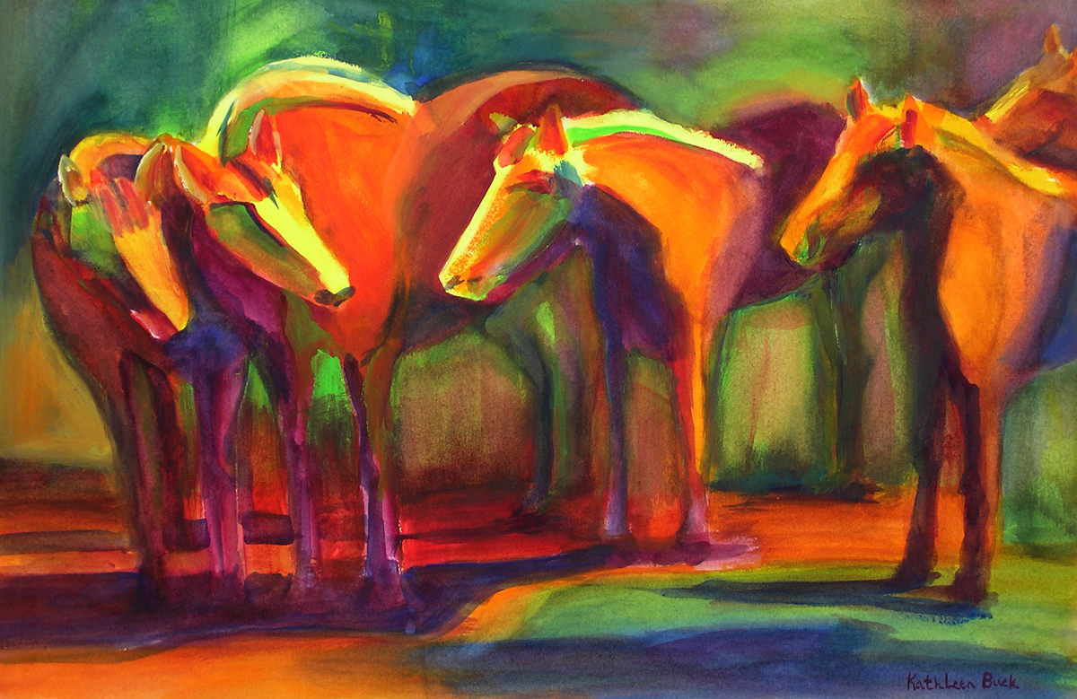 abstract painting of horses