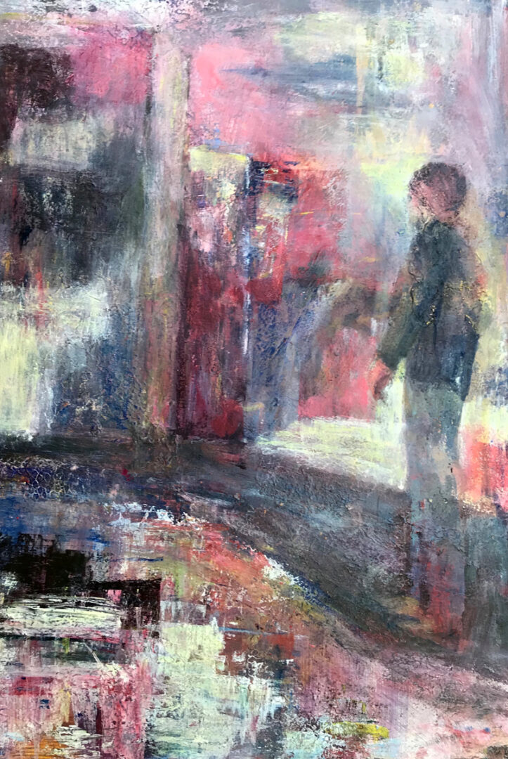 abstract painting with the silhouette of a man