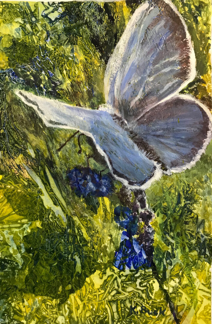 painting of a light blue butterfly
