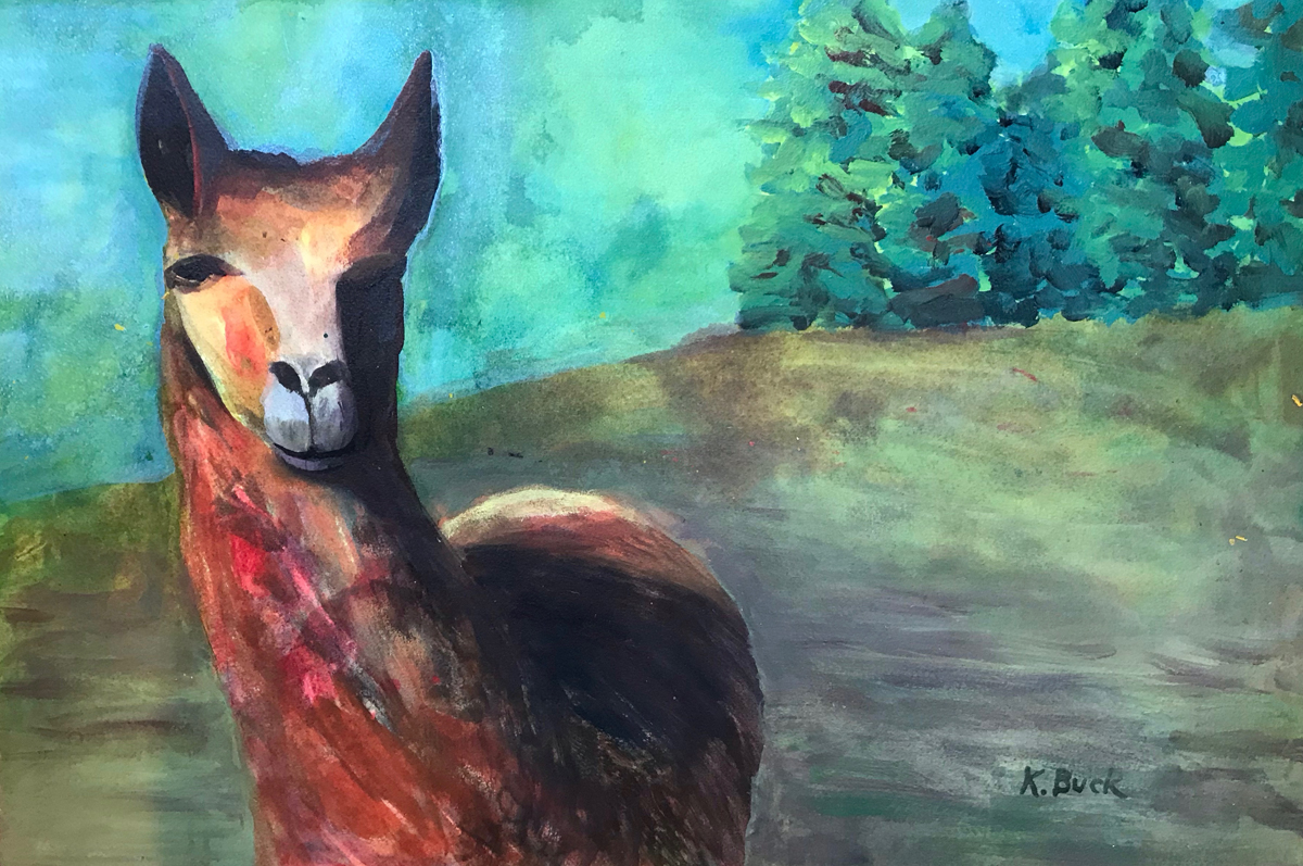 painting of llama with a green background