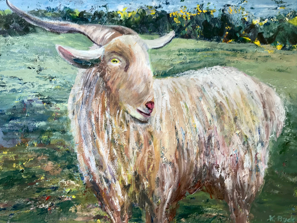 painting of a hairy goat with long horns