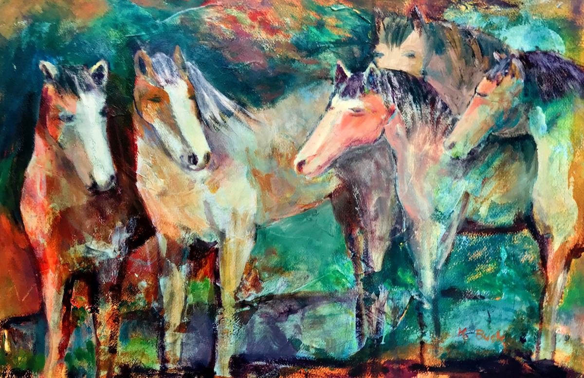 painting of five horses with a colorful background
