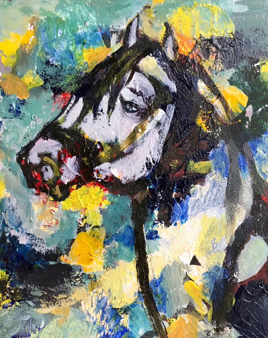 abstract painting with the head of a horse