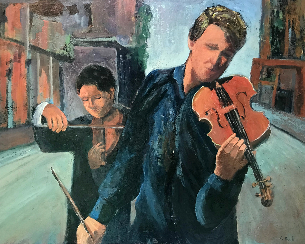 painting of two people playing violin on a street