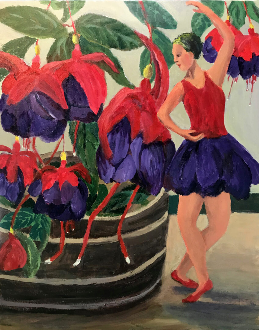 painting of a woman dressed like a flowers beside a drooping red and blue flowers