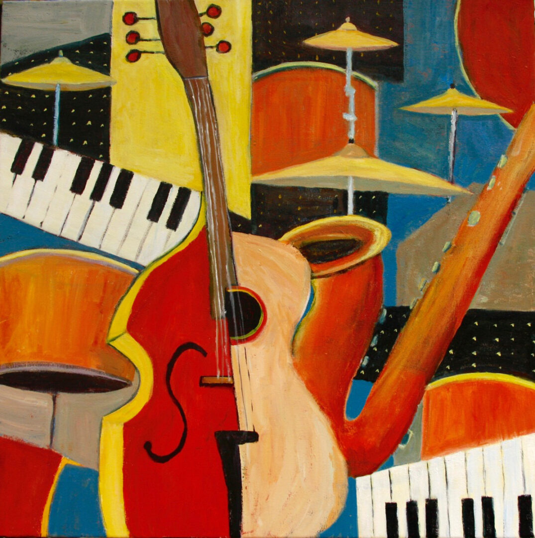 painting of musical instruments arranged in abstract design