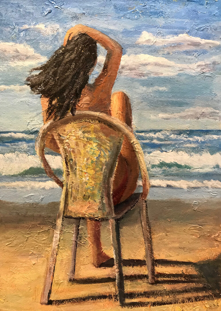 painting of a woman seating on a chair on a beach