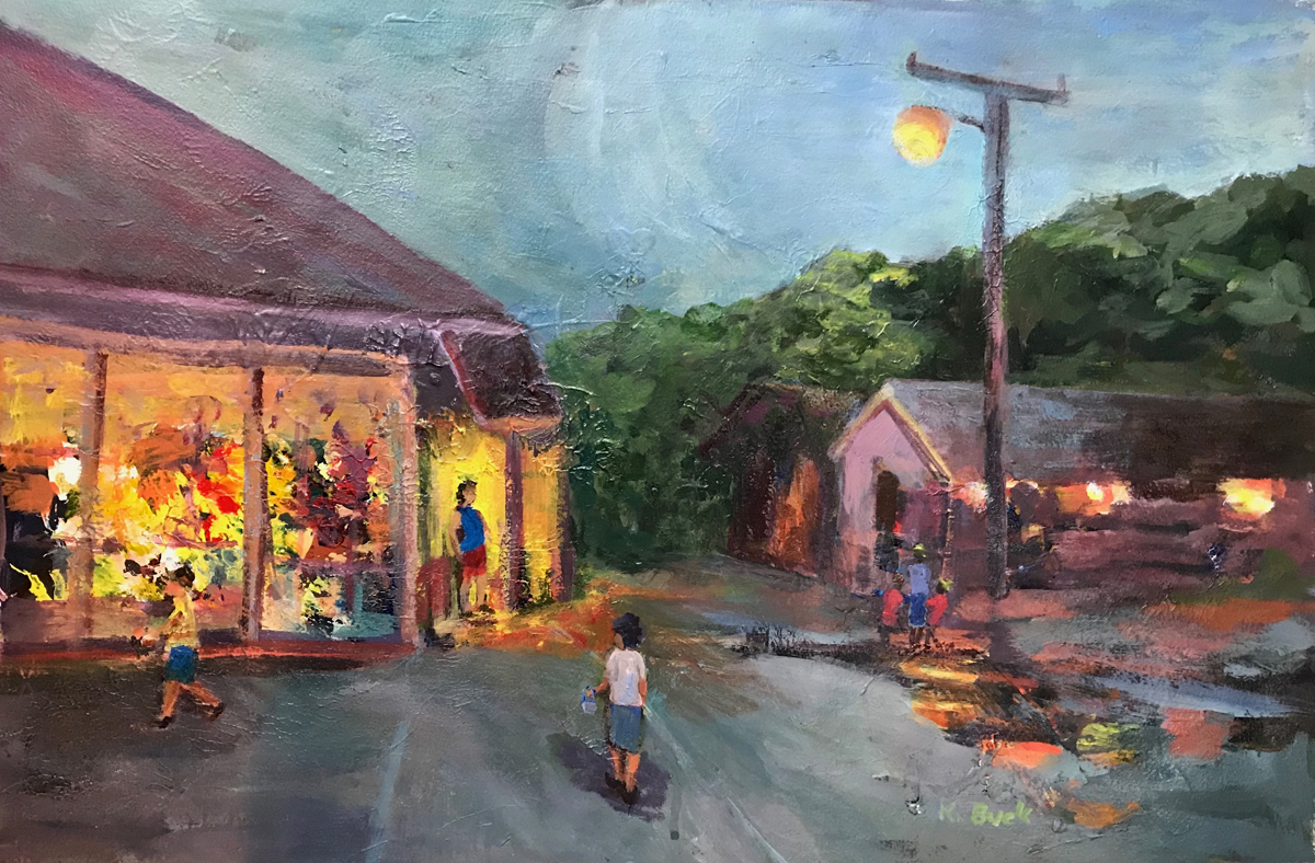 painting of nighttime scene on a rural village