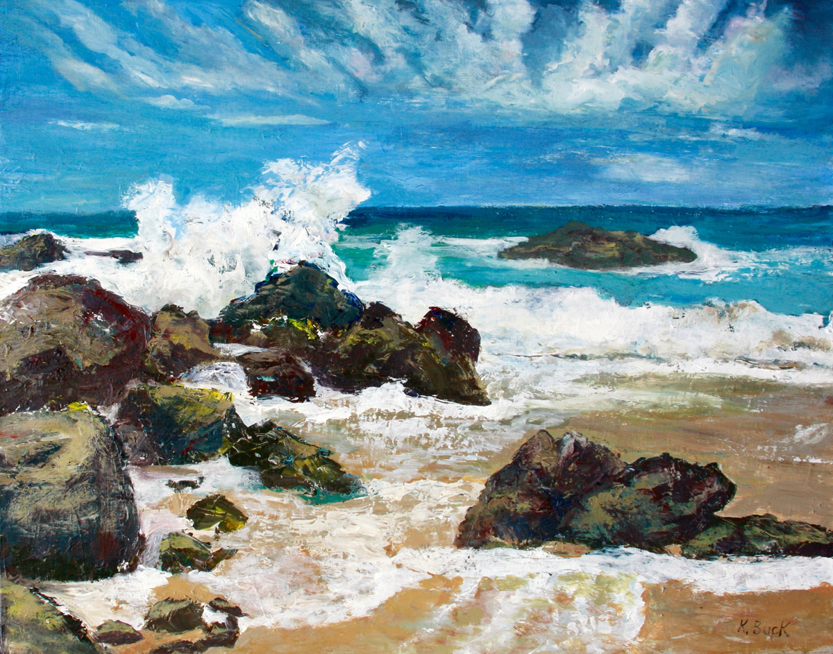 painting of a beach with waves breaking on rocks