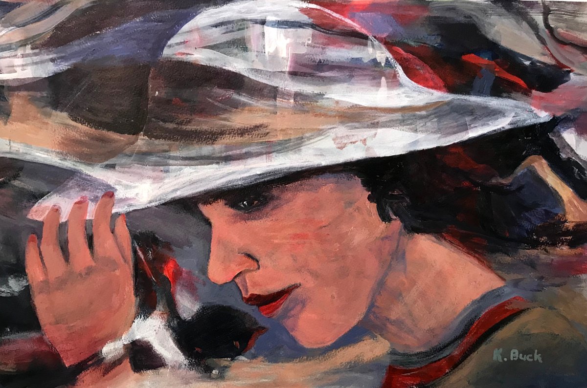 abstract painting of a woman with a hat