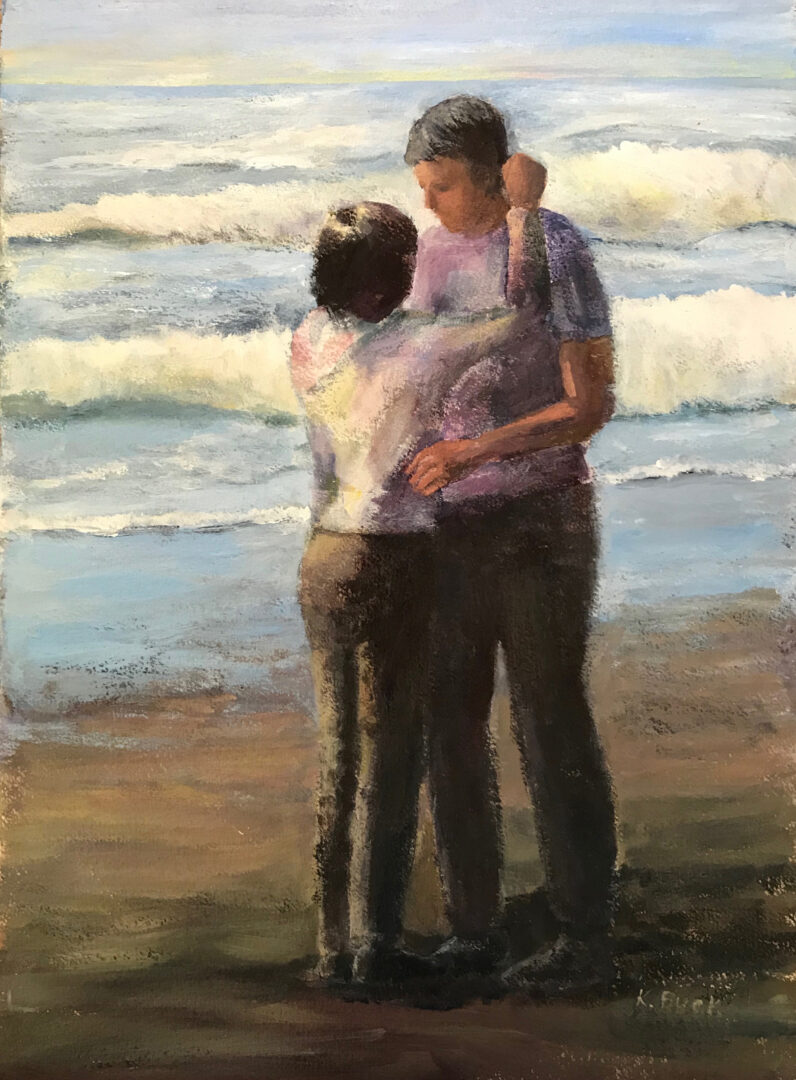 painting of a couple embracing on a beach
