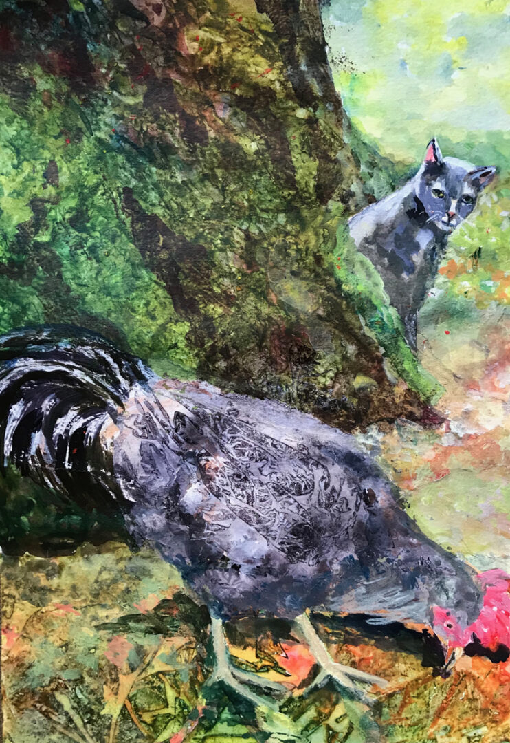 painting of a cat looking at a rooster