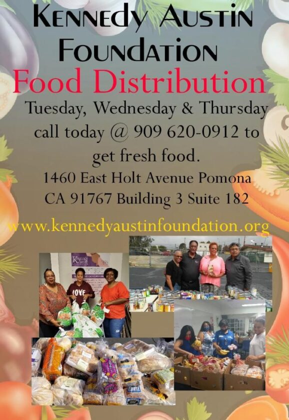 Weekly Food Distribution on Tuesday, Wednesday and Thursdays by the Kennedy Austin Foundation. Fresh food for the Pomona community!