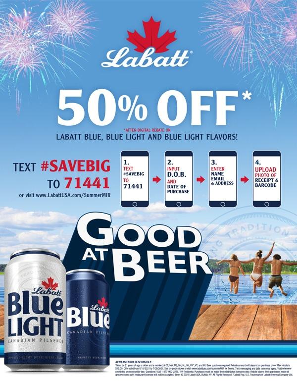 Labatt Blue 50% Off Rebate