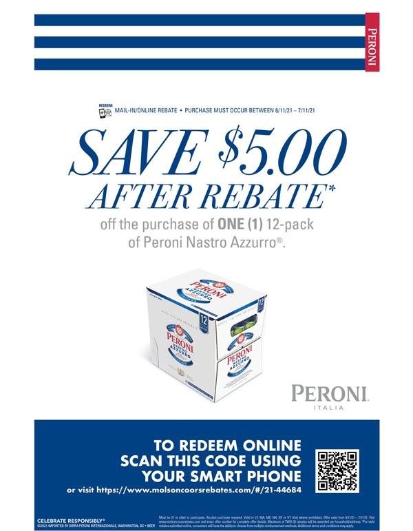 Peroni $5 Rebate