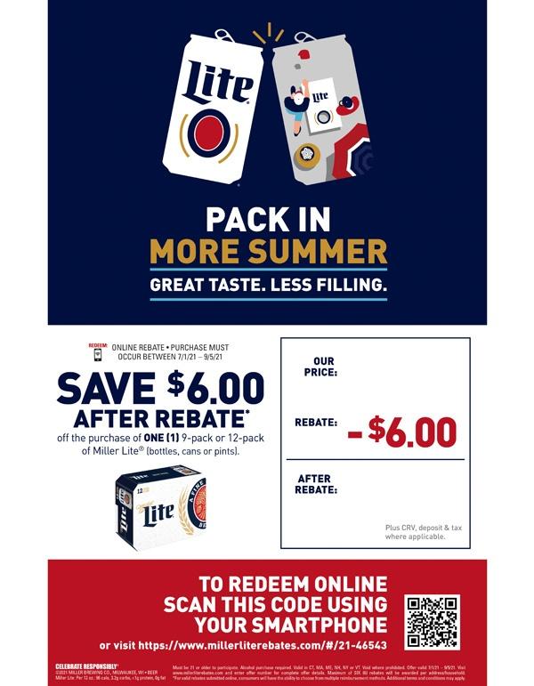 Miller Lite $6 Off Rebate