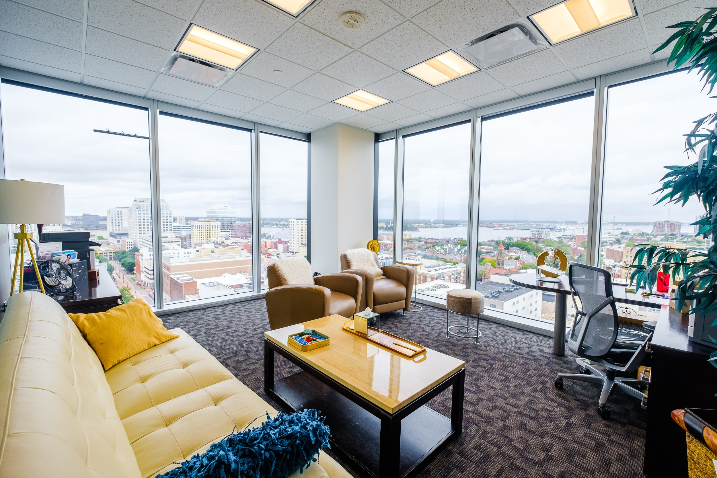 OSS Executive Suite Wells Fargo Center. Corner office with a beautiful view of downtown Norfolk.