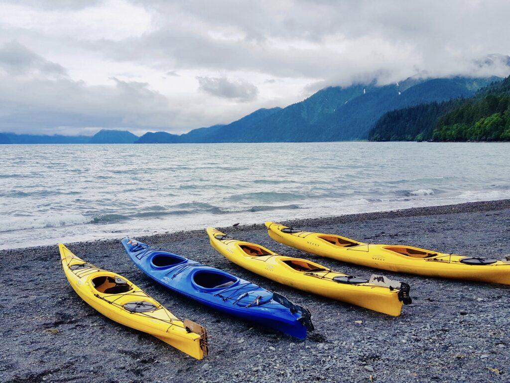 Kayaks next to a lake.