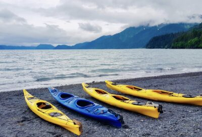 kayaks at a lake