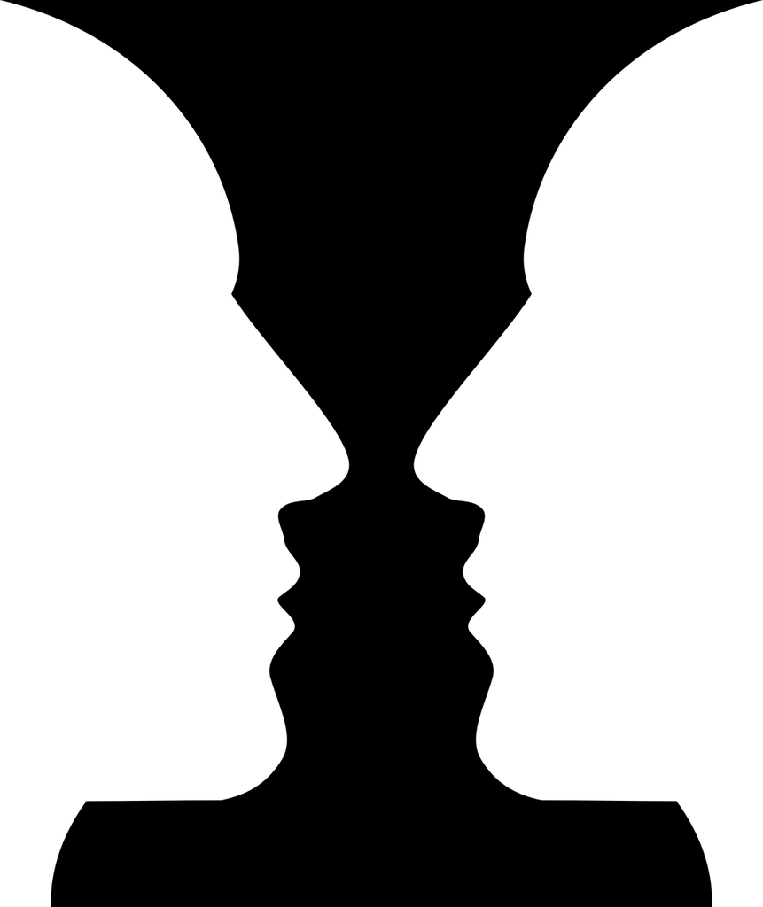 Imagem de vaso e duas faces.