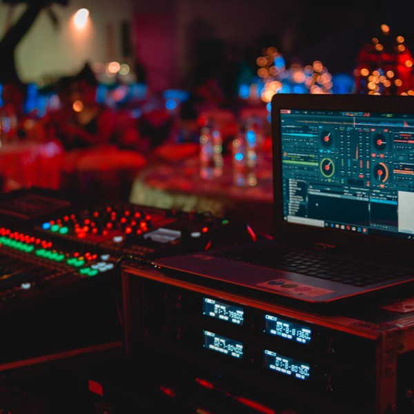 DJ equipment set up at a corporate event