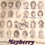 """Andy Griffith show. Autographed photo of Mayberry """"the friendly town one sheet, all cast members"""