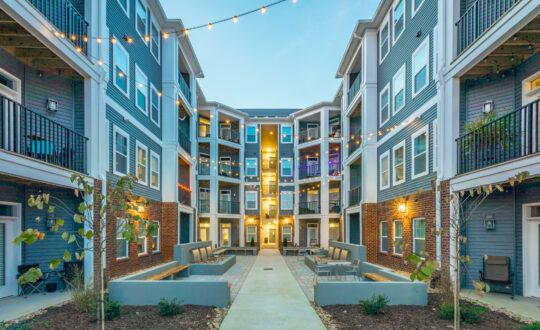 Apartment courtyard at dusk