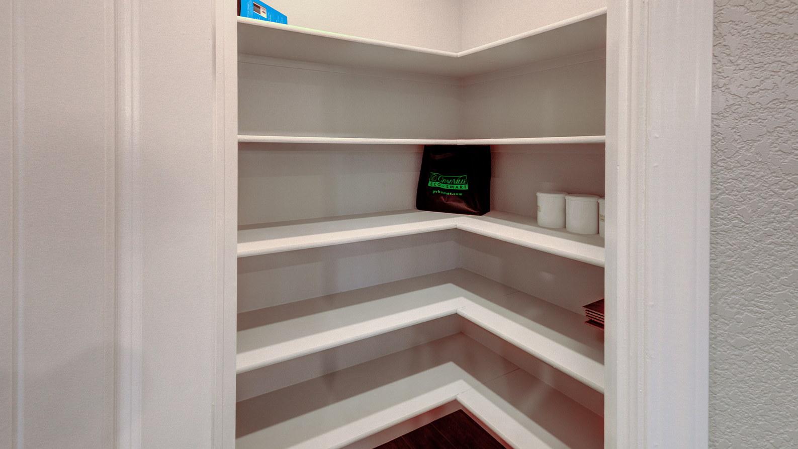 The corner step-in pantry.