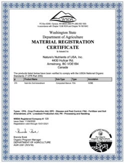 WSDA Organic Registration