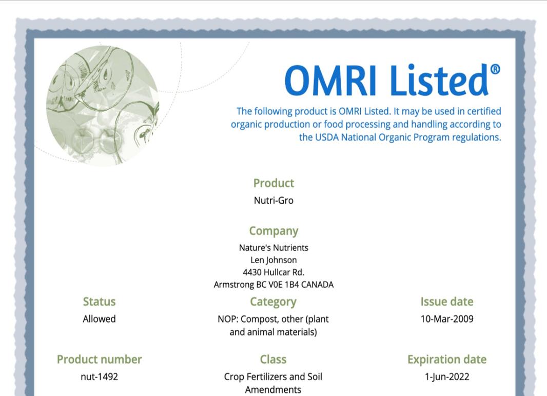 OMRI 2021 Certification