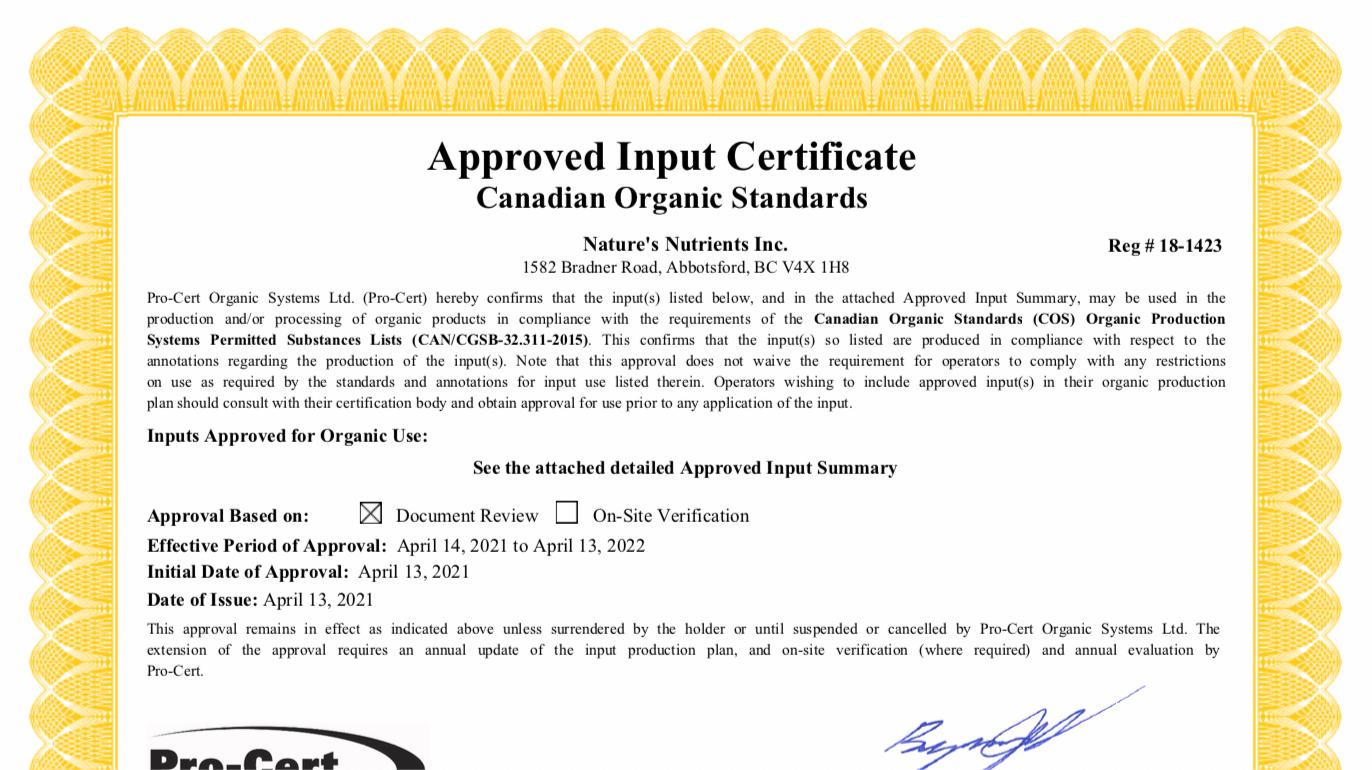 Pro-Cert Certificate