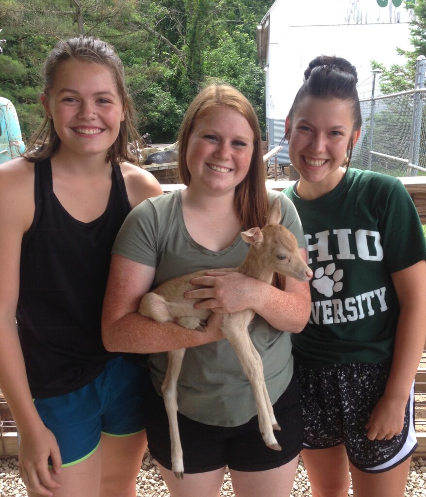 three girls with baby deer